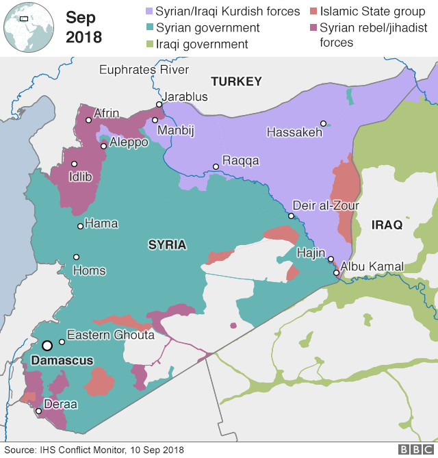 Middle East Map Euphrates River.Us Backed Force Attacks Last Is Pocket In Eastern Syria Bbc News