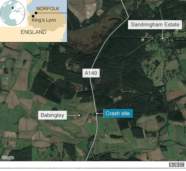 Prince Philip Unhurt in Crash While Driving _105227810_sandrigham_accident_map640-nc