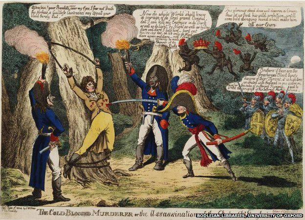 Political cartoon about the Napoleonic wars and Napoleon's career