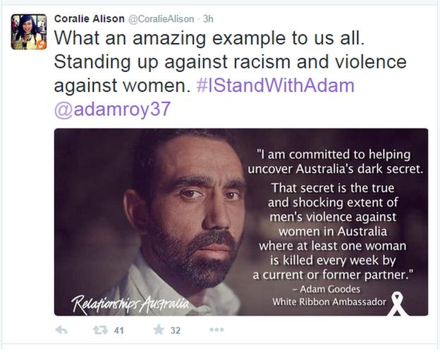 AFL racism row: Goodes backed by #IstandwithAdam campaign - BBC News