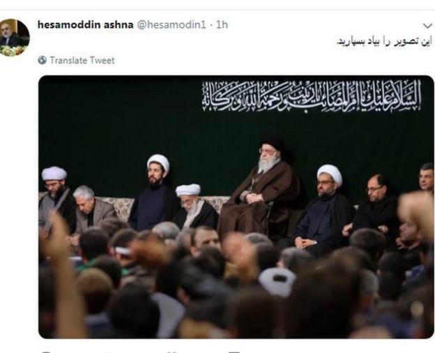 تصویر توییت حسام الدین آشنا. این توییت یک روز بعد حذف شد