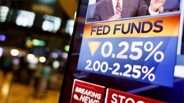 TV screen shows news of Fed interest rate cut