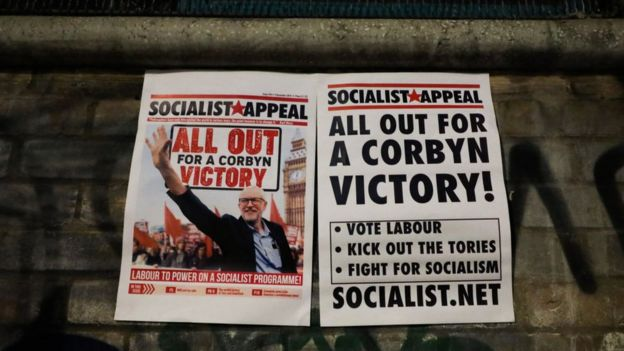 Posters at Labour leader Jeremy Corbyn's final rally in Hoxton, London