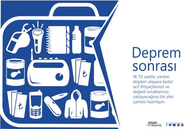 AFAD'iın deprem çantası görseli