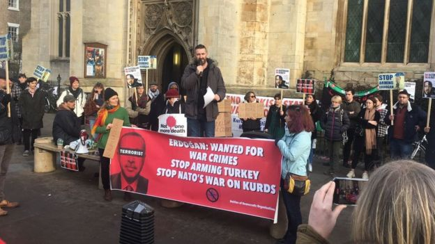 Protest against Turkish government in Cambridge