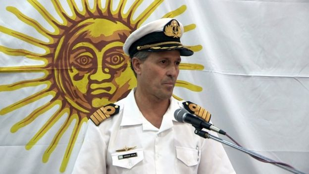 Argentine navy spokesman Enrique Balbi addresses the media in Buenes Aires on Saturday