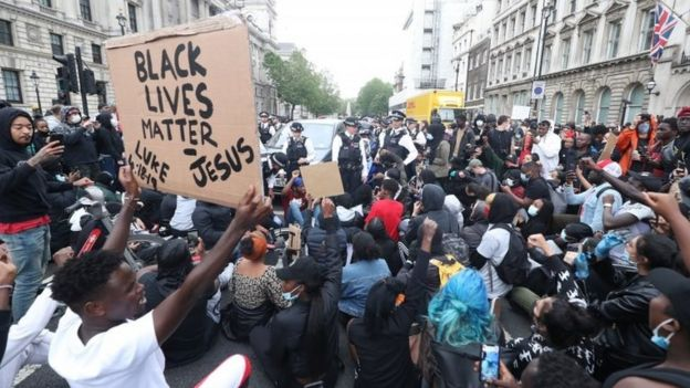 A Black Lives Matter protest rally in Whitehall, London, in memory of George Floyd