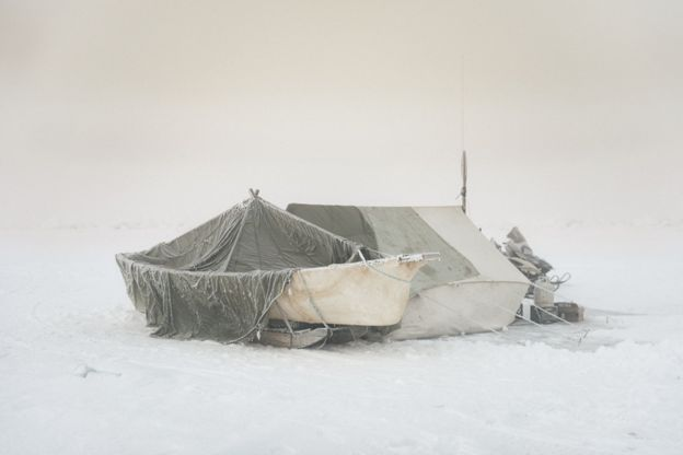 This camp, erected miles out on the sea ice, is the Inupiaq home away from home. Despite spending months living in cramped and frozen quarters, the captain of Yugu crew prefers it.