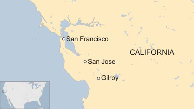 Map showing Gilroy on the US west coast