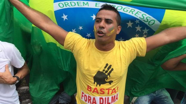 An anti-government protester outside the presidential palace in Brasilia