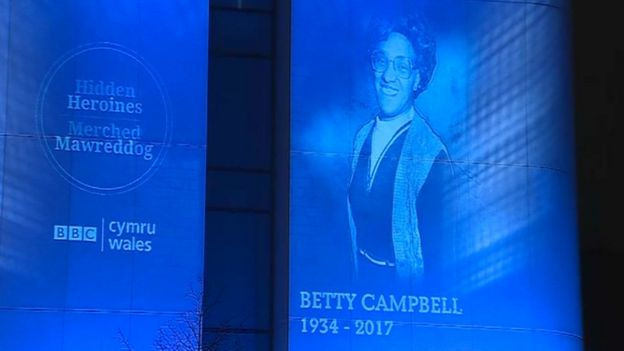 Betty Campbell's face was projected on the side of BBC Wales' new building as the winner was announced