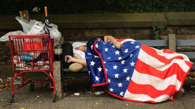 A man sleeping rough in New York