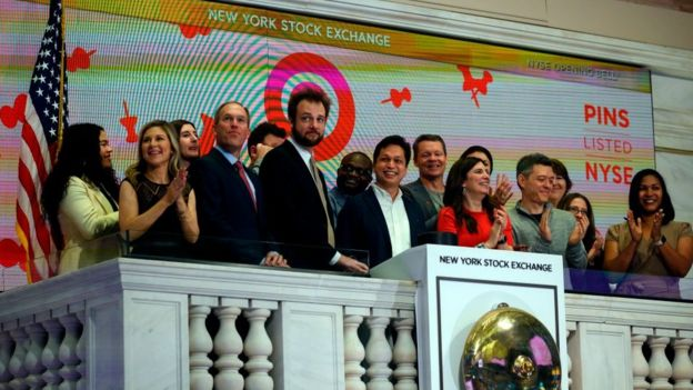 Co-founders and CEO of Pinterest, Ben Silbermann and Evan Sharp ring the opening bell at the New York Stock Exchange, during the company's IPO on April 18, 2019.