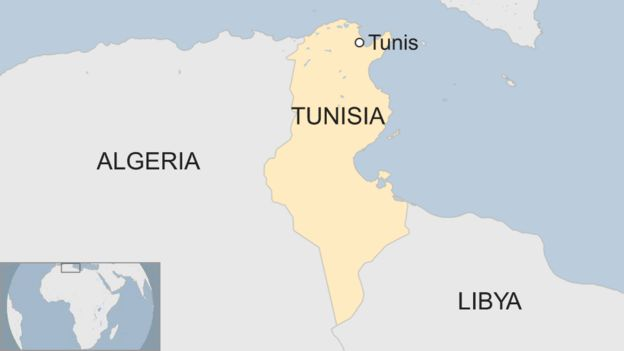 A map showing Tunis is Tunisia
