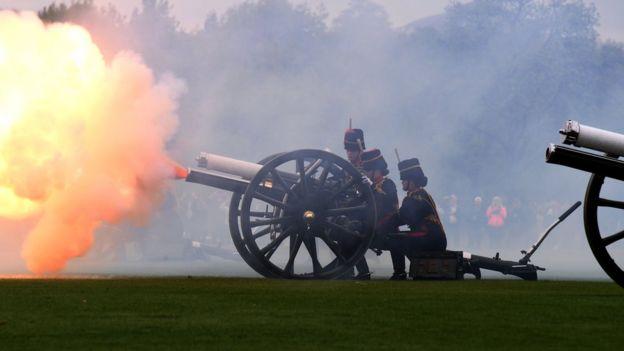 The Kings Troop Royal Horse Artillery fire a 41 gun salute from Hyde Park