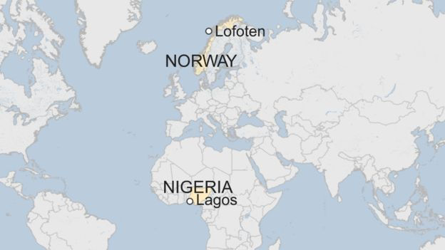map of nigeria and norway