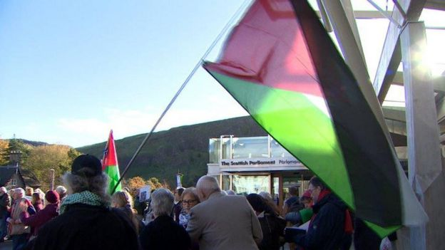 The Scottish Palestine Solidarity Campaign was involved in a protest in Edinburgh on Thursday