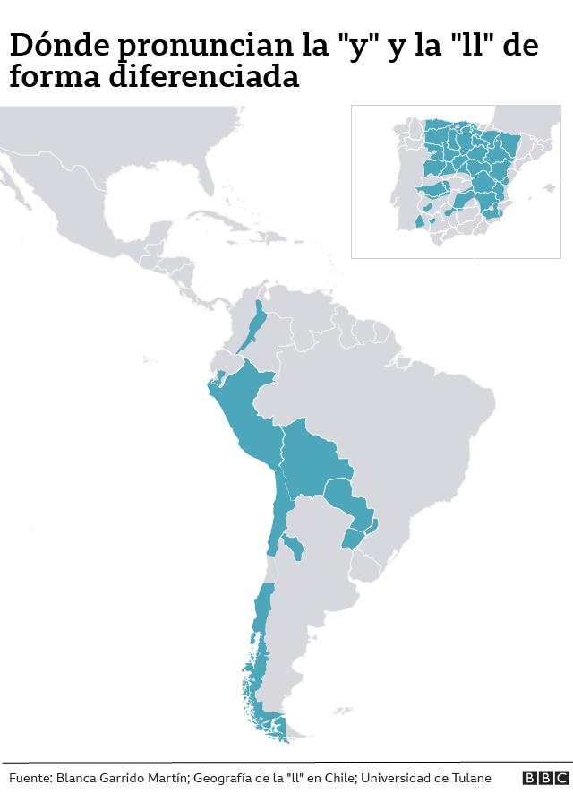 """Mapa de zonas donde se diferencia la """"y"""" y la """"ll"""""""