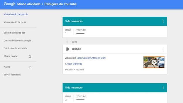 Página interna do Google