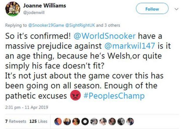 Screengrab of Joanne Williams's tweet