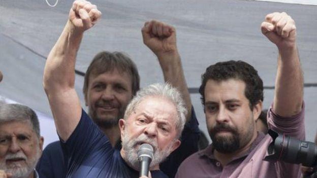 Lula no Sindicato dos Metalúrgicos junto de Guilherme Boulos
