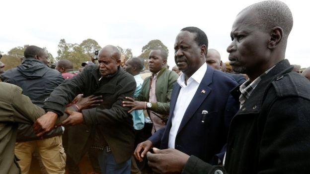 Mr Odinga arrives to vote in Kibera, Nairobi