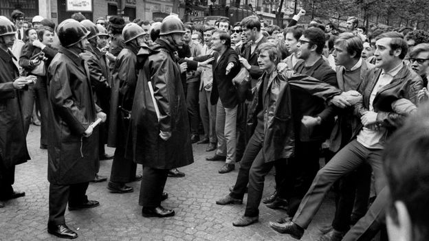 france s protesters revive ghosts of 1968 revolt bbc news
