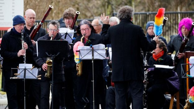 Band outside Liverpool Cathedral