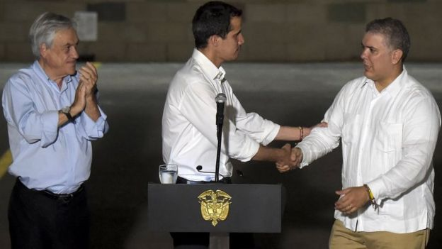 Guaidó e presidentes latino-americanos