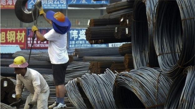 Steel rods in Chinese factory