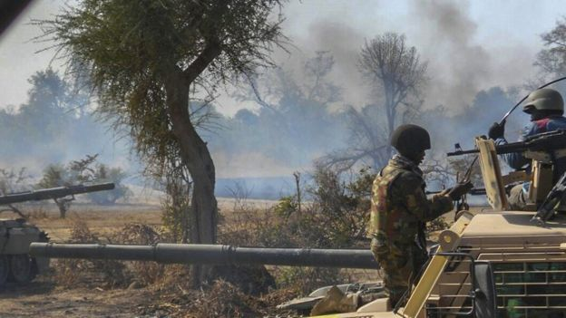 An insurgents' camp being destroyed by Nigerian military in the Sambisa Forest, Borno state