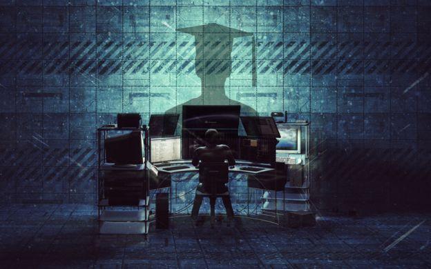 Una ilustración de hackeo universitario