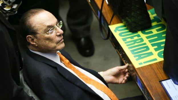 Paulo Maluf durante julgamento de impeachment de Dilma Rousseff na Câmara