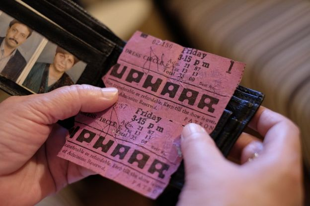 Neelam holding the move tickets her children had to Uphaar cinema on 13 June 1997.