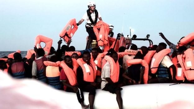 Migrants picked up by the Aquarius