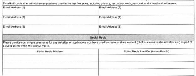 Formulário de visto