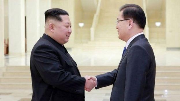 Kim Jong-un and Chung Eiu-yong.