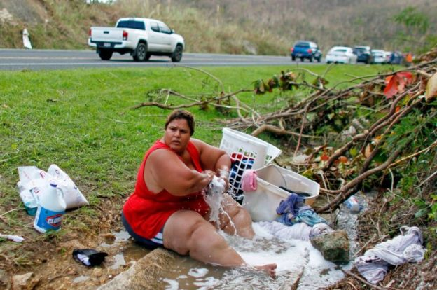Washing up in Puerto Rico