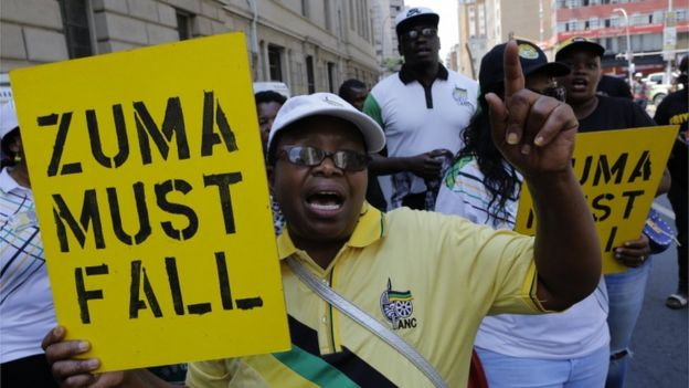 Members an ANC faction supporting Cyril Ramaphosa call for Jacob Zuma, to resign, in Johannesburg on 5 February 2018