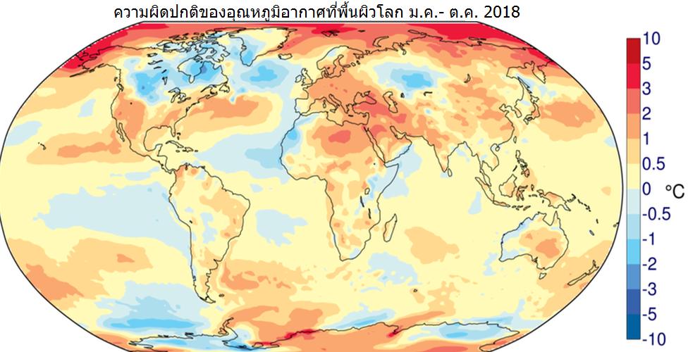 แผนภาพแสดงแนวโน้มความเปลี่ยนแปลงของระดับอุณหภูมิ โดยเปรียบเทียบสถิติของปีนี้กับในระยะยาว ซึ่งชี้ว่าภูมิอากาศในแถบอาร์กติกกำลังร้อนขึ้น