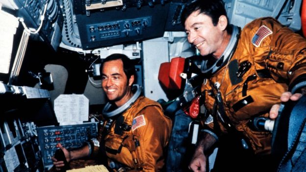 US Astronauts Robert Crippen (L) and John Young (R) in the flight deck of the space shuttle Columbia before the first shuttle flight at Kennedy Space Center in Florida on April 12, 1981