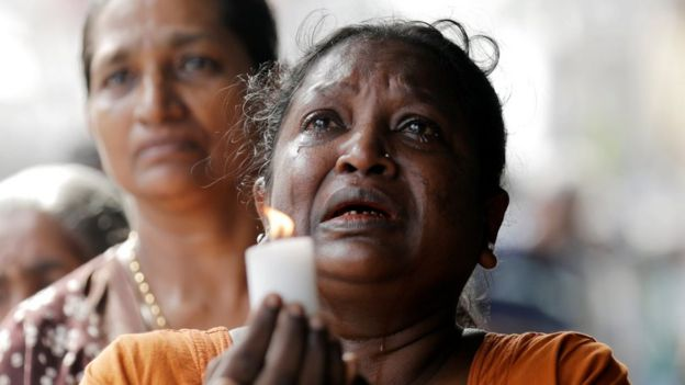 Mourners in Sri Lanka