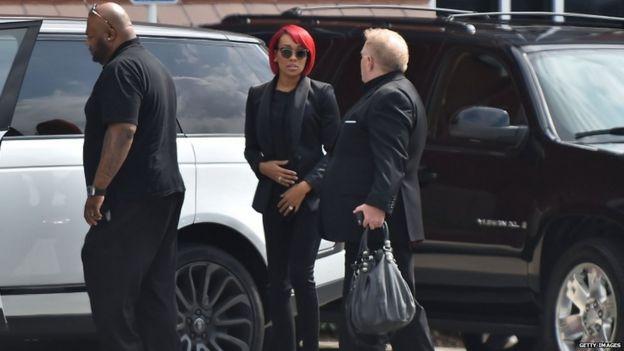 Singer Monica arrives for Bobbi Kristina Brown's funeral, 1 Aug