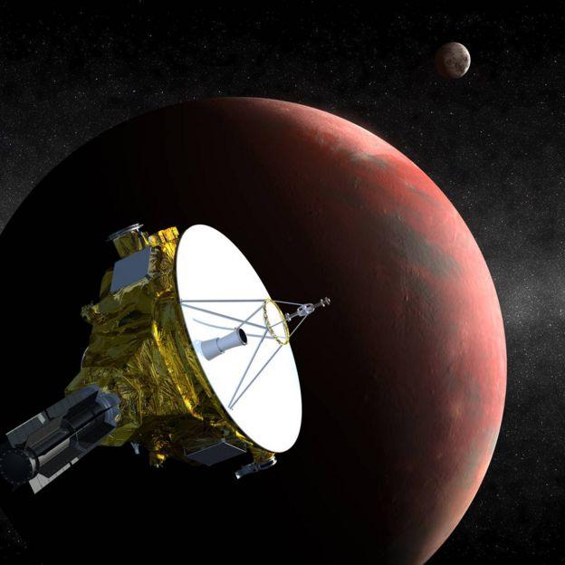 Perspectiva artística da sonda New Horizons em direção ao cinturão de Kuiper