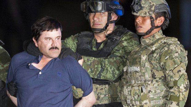 Joaquín Guzman Loera (El Chapo) with authorities