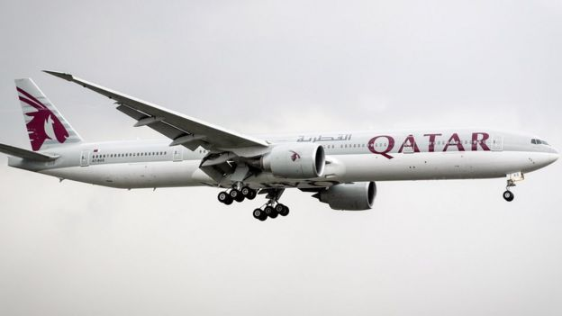 A Qatar Airways plane in flight