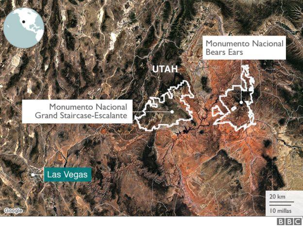 Mapa de reservas naturales en Utah.