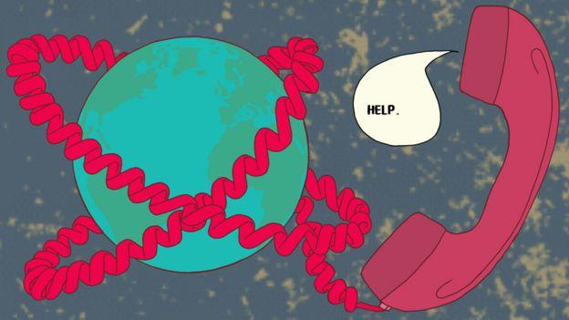 Ilustración de un teléfono que rodea a la Tierra.