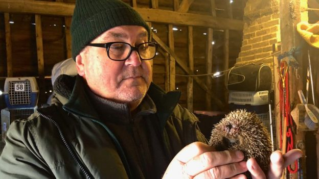 Chris Wicks holding a hedgehog