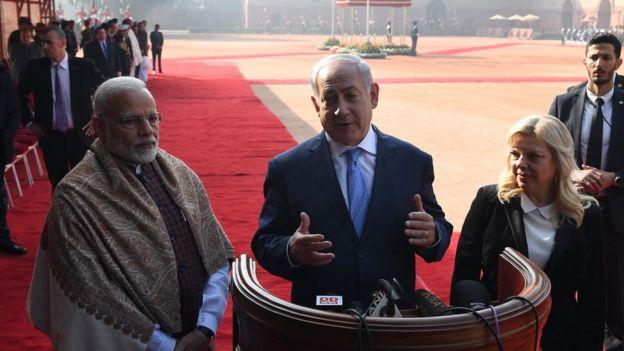 Mr Modi welcomed Mr Netanyahu at the President's House in Delhi on Monday